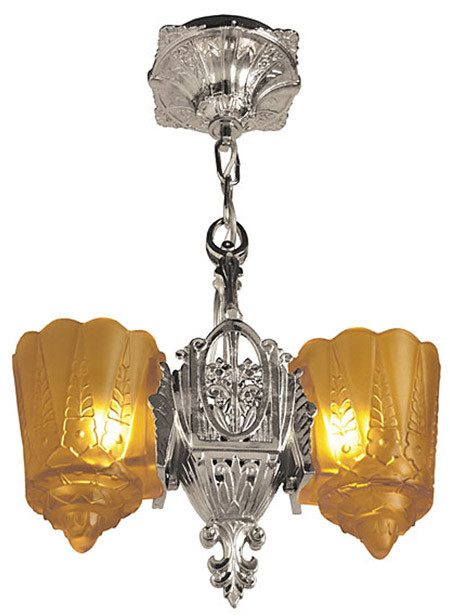 Art Deco Hanging Lights Pendants Two In One Series By Lincoln Recreated Slip Shade Two Light 792 Rb1 Nep