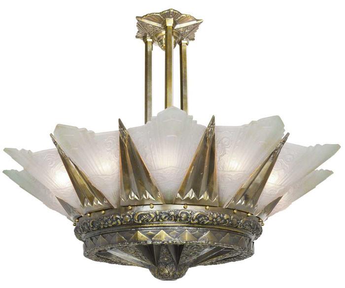 Vintage hardware french marseille 12 light art deco slip shade chandelier in antique brass finish 650 12l dkx