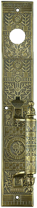 decorative vintage style brass door plate with thumblatch handle and cylinder lock