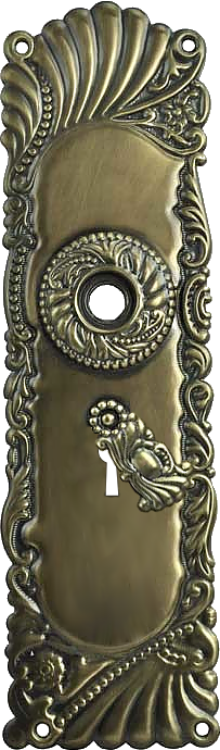 decorative vintage style brass door plate with knob and cylinder lock