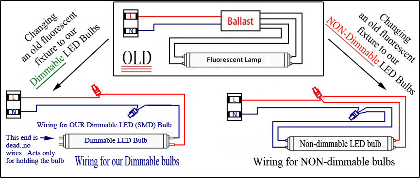 1 foot led replacement for t8 fluorescent tube (12 t8 led) Double Fluorescent Lights Wiring-Diagram