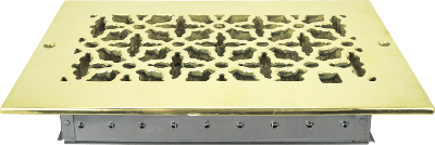 Rectangular Brass Grill with Damper