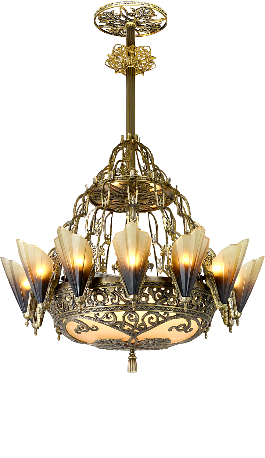 Vintage hardware lighting our newest antique lighting large art deco 14 light soleure slip shade chandelier 118 sol 14l arubaitofo Image collections