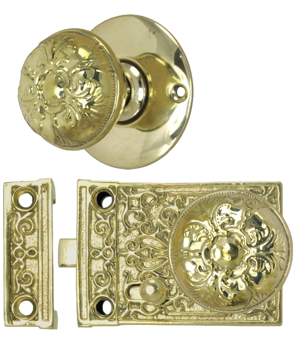 antique door set interior rim lock lockset