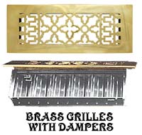 antique brass grilles and vents with dampers