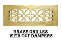 old brass grilles and vents without dampers