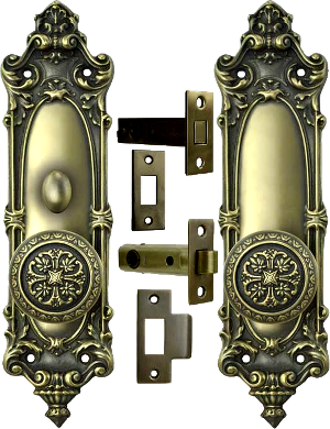 vintage door set interior tubular privacy lock lockset
