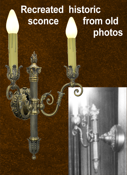 2 light sconce recreated from old photo