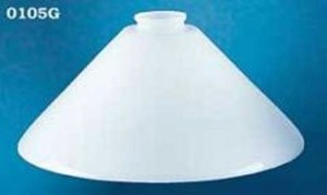 "Glass Shade Recreated 12"" Opal Glass Cone Shade, 2 1/4"" Fitter (0105G)"