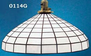 "Glass Shade Recreated 16"" Diameter White Leaded Glass Shade 2 1/4"" Fitter (0114G)"