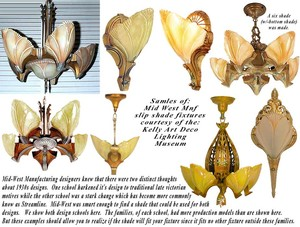 Art-Deco-Streamline-Chandelier-w/-Bat-Wing-or-Clam-Shell-Slip-Shades-(ANT-649)