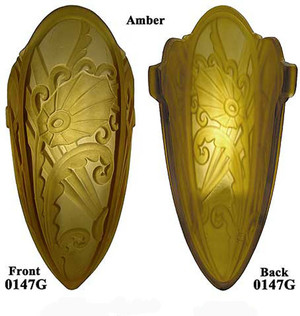 Art Deco Medieval Series Lincoln Amber Single Glass Slip Shade (0147G)