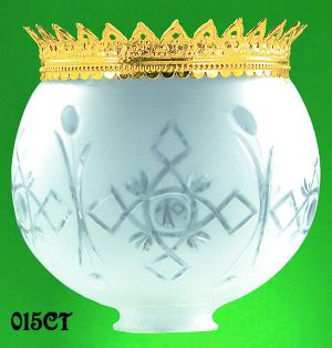 "Recreated Brass Crown For 8"" Ball Glass Shade (015CT)"