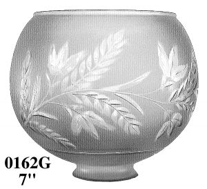"Glass Shade Recreated 7"" Diameter Fern Design Ball Gas Shade 2 5/8"" Fitter (0162G)"