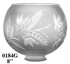 "Glass Shade Recreated 8"" Diameter Fern Design Ball Gas Shade 2 5/8"" Fitter (0184G)"