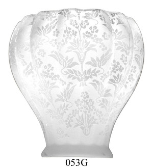 "Glass Shade Recreated Victorian Blown Glass Etched Shade 2 1/4"" Fitter (053G)"