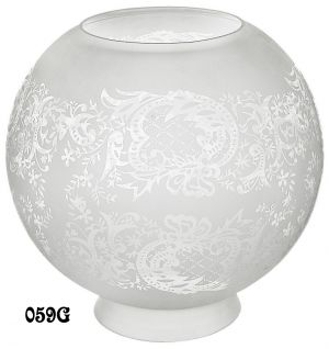 "Vintage Gaslight Style 8"" Ball Etched Glass Shade, 4"" Fitter (059G)"