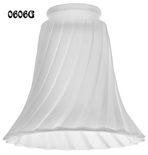 "Pressed Swirled Frosted Glass Shade 2 1/4"" Fitter (0606G)"