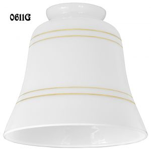 "Opal With Gold Bands Glass Shade 2 1/4"" Fitter (0611G)"