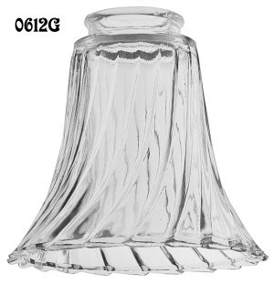 "Pressed Swirled Clear Glass Shade 2 1/4"" Fitter (0612G)"