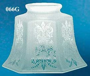 Etched Glass Hexagon Panel Shade Fits 3 1/4