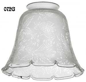 Glass Shade Recreated Etched Floral Design Electric Glass Shade 2 1/4