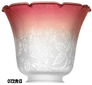"Glass Shade Recreated Etched Floral Design Electric Glass Shade 2 1/4"" Fitter Ruby Tipped (072RG)"
