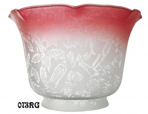 "Etched Floral Design Glass Gas Shade 4"" Fitter Ruby Tipped (073RG)"