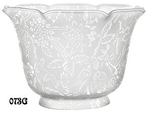 "Etched Floral Design Glass Gas Shade 4"" Fitter (073G)"