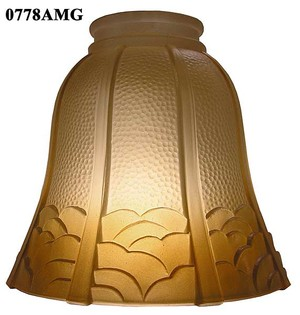 "Glass Shade Recreated Arts & Crafts Amber Glass Shade 2 1/4"" Fitter (0778AMG)"
