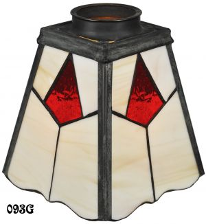 "Arts & Crafts Stained Glass Shade 2 1/4"" Fitter (093G)"