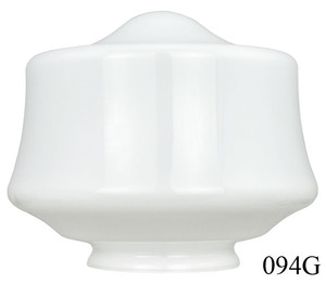 "Recreated 8"" Schoolhouse Glass Shade 4"" Fitter (094G)"