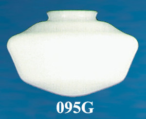 "Recreated 9 1/2"" Schoolhouse Opal Glass Shade 4"" Fitter (095G)"