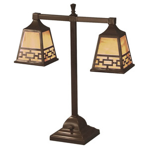 Mission Style T 2-Light Lamp With Chain Shade (104-DC1-PL)