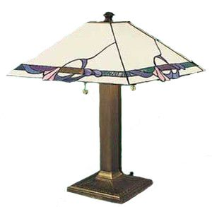 Arts & Crafts Table Lamp With White Art Glass Shade (114-AC2-PL)