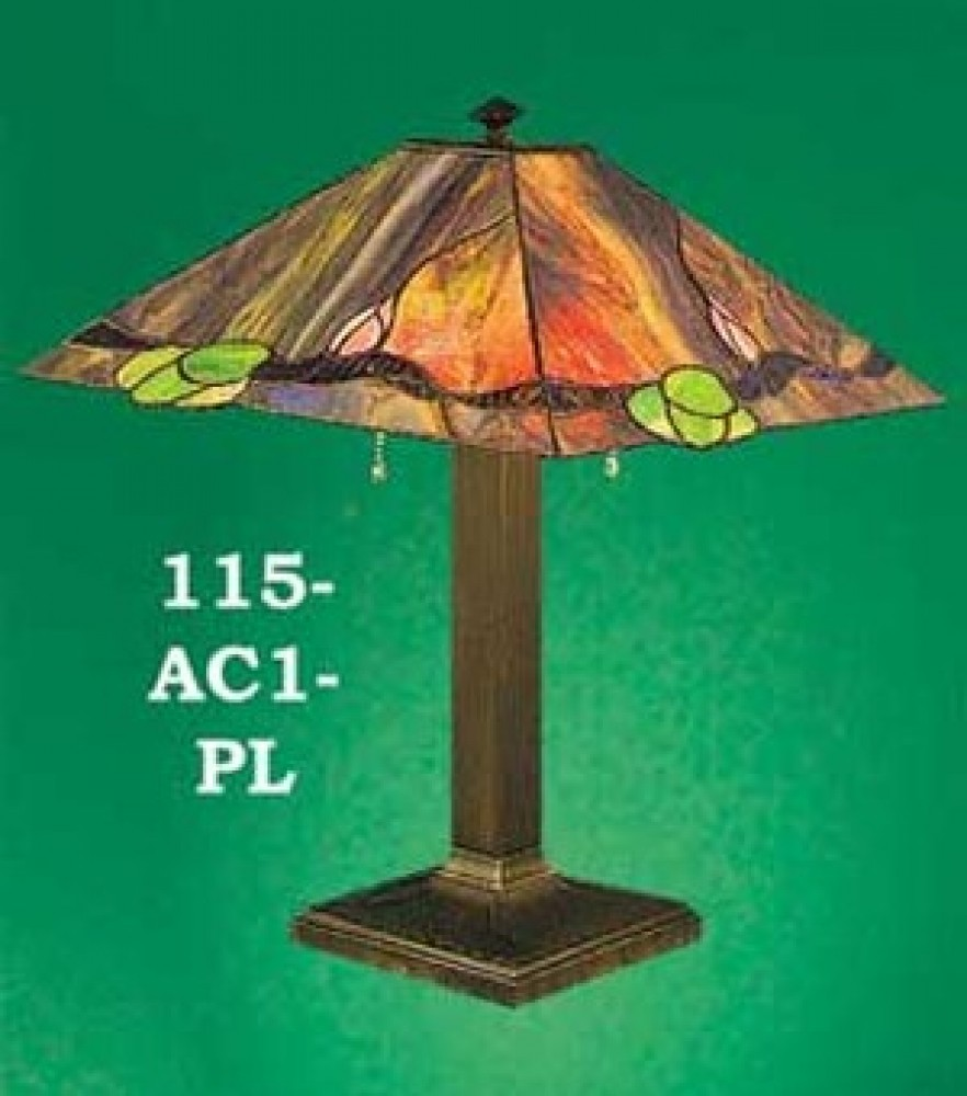 Lamp Recreated Arts & Crafts Multi-Color Shade Table Lamp (115-AC1-PL)