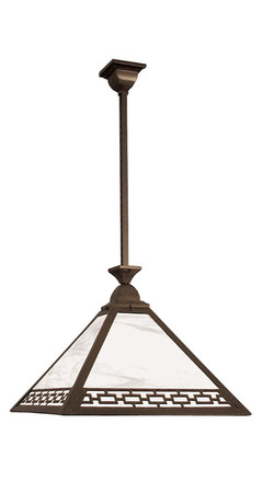 "22"" Wide Mission Style Rod Hung Pendant With Chain Design Shade (116-GC1-EP)"