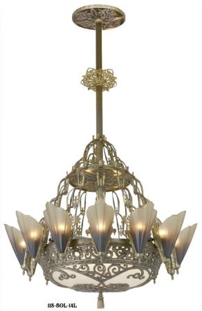 Large Art Deco Chandelier 14 Light Soleure Slip Shade Chandelier Original Kenk Design (118-SOL-14L)