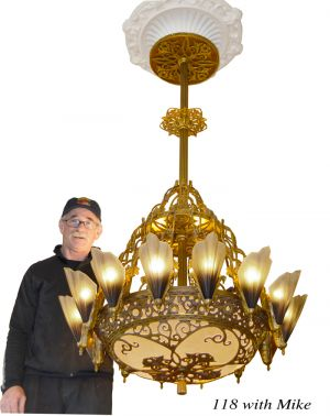 "36 1/2"" Large Art Deco Chandelier 14 Light Soleure Slip Shade Chandelier Original Kenk Design (118-SOL-14L)"