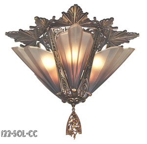 Art Deco Close Ceiling Flush Mount Chandeliers 5 Light Soleure Series by Mid West (122-SOL-CC)