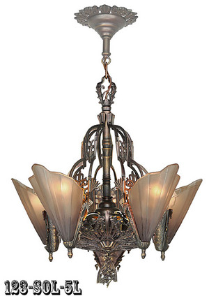 Art Deco Chandeliers Slip Shade 5 Light Soleure Series by Mid-West Mfg (123-SOL-5L)