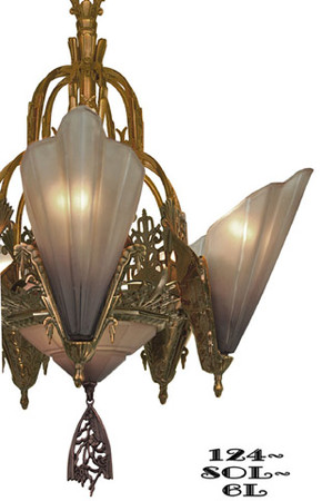 Art-Deco-Chandeliers-Lighting-Slip-Shade-Style-6-Light-Soleure-Series-(124-SOL-6L)