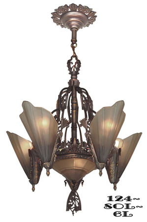 Art Deco Chandeliers Lighting Slip Shade Style 6 Light Soleure Series (124-SOL-6L)