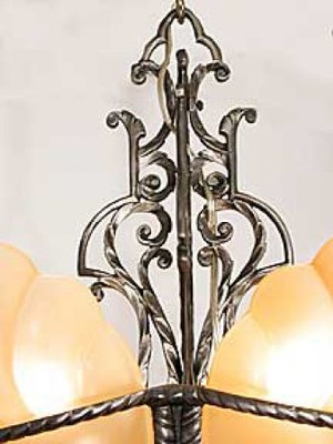 Art-Deco-Lighting-Fixtures-Chandeliers-5-Light-Devon-Series-Slip-Shade-Style-(127-DEA-X)