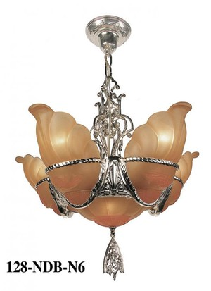 Art Deco Ceiling Lighting 6 Light Chandeliers Devon Series by MidWest (128-DEB-X)