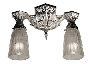 Art Deco Flush Mount Close Ceiling Double Lights by Lincoln (139-CCL)
