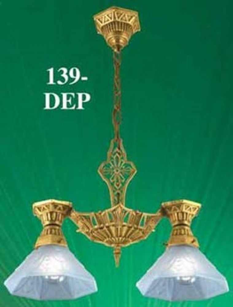 Art-Deco-Ceiling-Pendants-Lighting-Two-Light-With-Shades-by-Lincoln-(139-DEP)