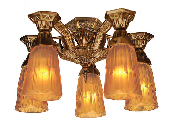 Westmenlights Vintage Small Ceiling Light Flush Mount: Art Deco Flush Mount Close Ceiling Lighting 5 Light By