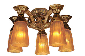 Art Deco Flush Mount Close Ceiling Lighting 5 Light by Lincoln (140-CCL)