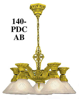 Art Deco Lighting Fixtures Chandeliers Torch Style 5 Light - No Shades - By Lincoln Mfg (140-PDC)